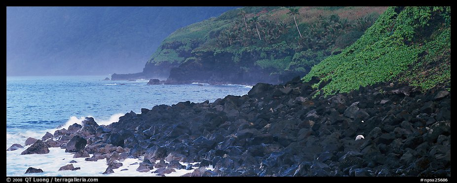 Coastline of Volcanic boulders, Tau Island. National Park of American Samoa (color)