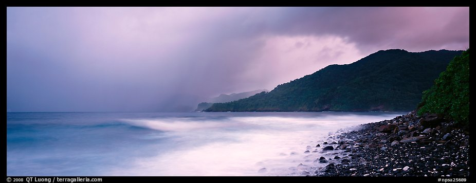 Seascape with storm clouds and foamy ocean, Tutuila Island. National Park of American Samoa (color)