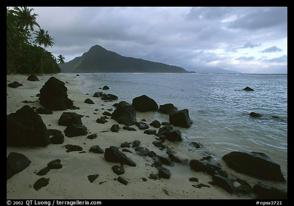 Balsalt boulders on South Beach, Ofu Island. National Park of American Samoa (color)