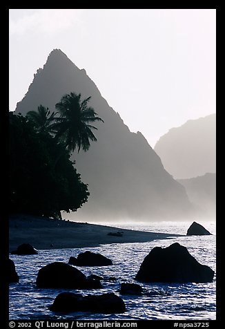 Sunuitao Peak from the South Beach, early morning, Ofu Island. National Park of American Samoa (color)