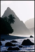 Sunuitao Peak from the South Beach, early morning, Ofu Island. National Park of American Samoa ( color)