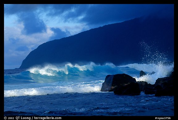 Surf and sea cliff, Siu Point, Tau Island. National Park of American Samoa (color)