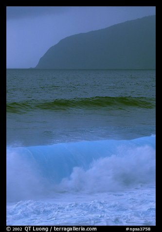 Turquoise waters in surf, Tau Island. National Park of American Samoa (color)