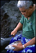 Elder Samoan subsistence fisherman, Tau Island. National Park of American Samoa ( color)
