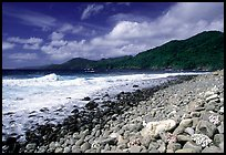 Beached coral heads and Vatia Bay, mid-day, Tutuila Island. National Park of American Samoa