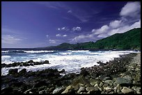 Peeble beach and Vatia Bay, mid-day, Tutuila Island. National Park of American Samoa ( color)