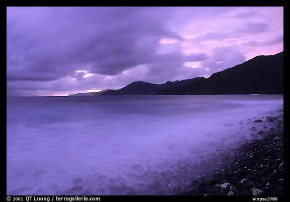 Approaching storm at sunrise, Vatia bay, Tutuila Island. National Park of American Samoa (color)