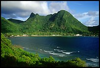 Vatia Bay and village, early morning, Tutuila Island. National Park of American Samoa (color)
