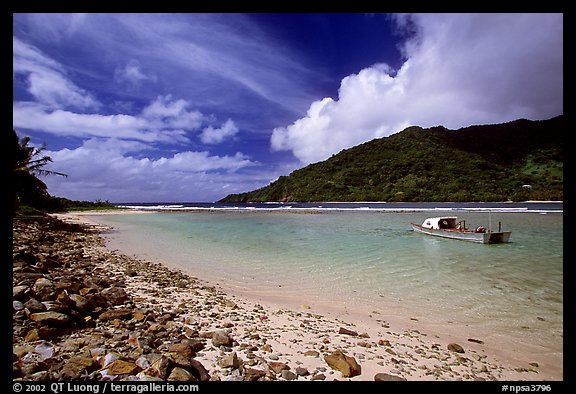 Fishing boat in Vatia Bay, mid-day, Tutuila Island. National Park of American Samoa (color)