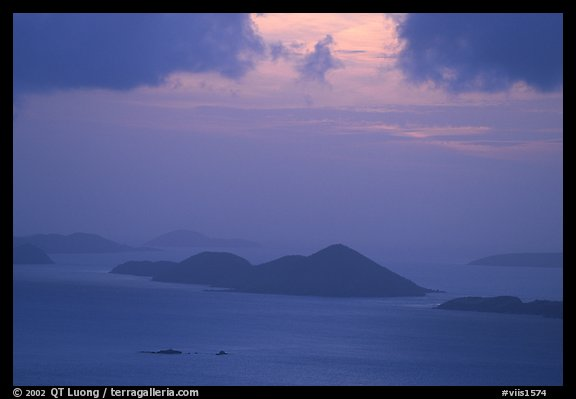Sunset over small islands. Saint John, US Virgin Islands (color)