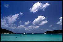 Saltpond bay beach with swimmers and boats. Virgin Islands National Park, US Virgin Islands. (color)