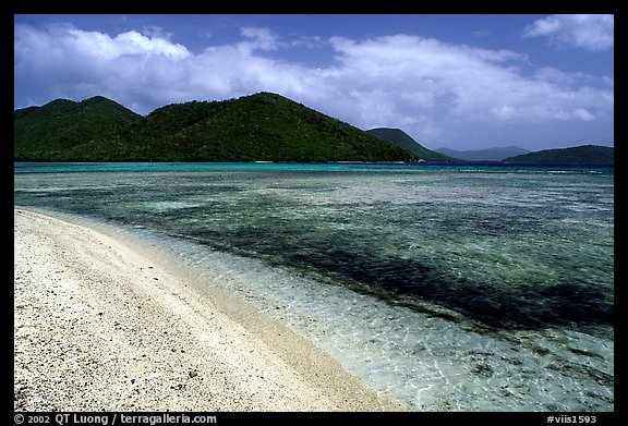 Beach, reef, and hills, Leinster Bay, morning. Virgin Islands National Park (color)