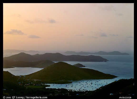 Hills, harbor and boats at sunrise, Coral bay. Virgin Islands National Park (color)