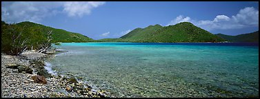 Bay and beach with turquoise waters. Virgin Islands National Park (Panoramic color)