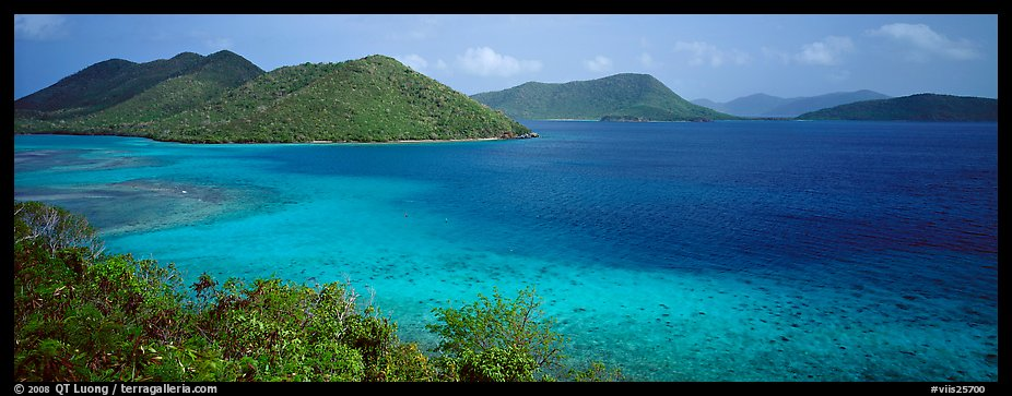 Tropical turquoise waters and green hills. Virgin Islands National Park (color)