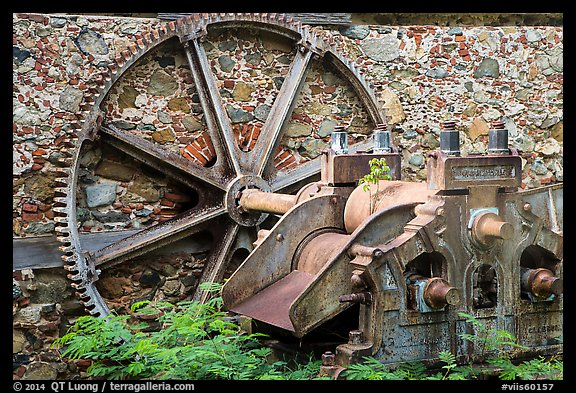 Steam powered sugarcane crusher, Reef Bay sugar factory. Virgin Islands National Park (color)