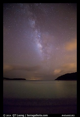 Milky Way and stars over Little Lameshur Bay. Virgin Islands National Park (color)