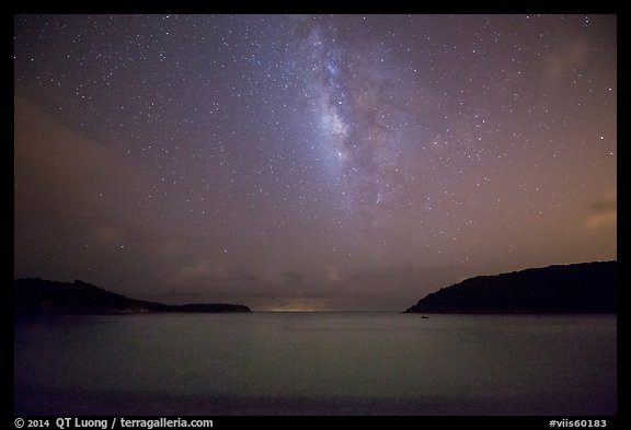Milky Way and starry sky at night, Little Lameshur Bay. Virgin Islands National Park (color)