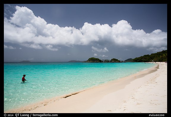 Visitor looking, Trunk Bay beach. Virgin Islands National Park (color)