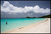 Visitor looking, Trunk Bay beach. Virgin Islands National Park ( color)