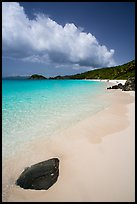 Tropical beach with white sand and turquoise waters, Trunk Bay. Virgin Islands National Park ( color)