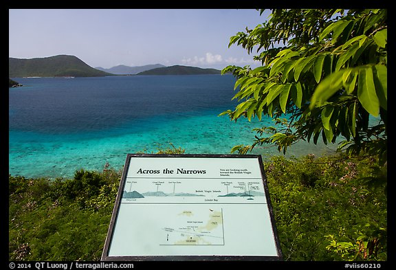 Leinster Bay and Narrows interpretive sign. Virgin Islands National Park (color)