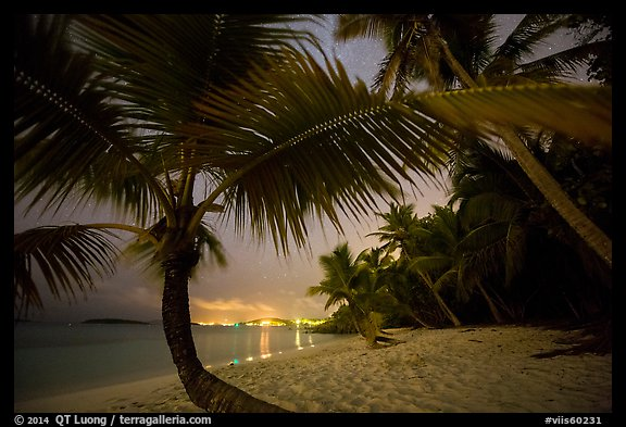 Salomon beach with distant lights at night. Virgin Islands National Park (color)