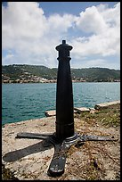 Cannon used as post, Hassel Island. Virgin Islands National Park ( color)