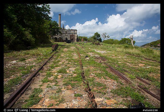 Rails and chain leading to Creque Marine Railway power house, Hassel Island. Virgin Islands National Park (color)