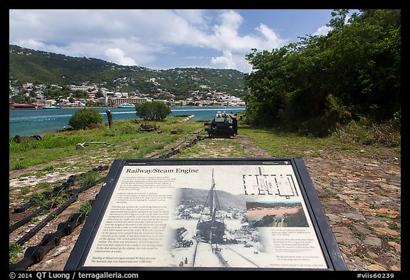 Railway and Steam Engine interpretive sign, Hassel Island. Virgin Islands National Park (color)