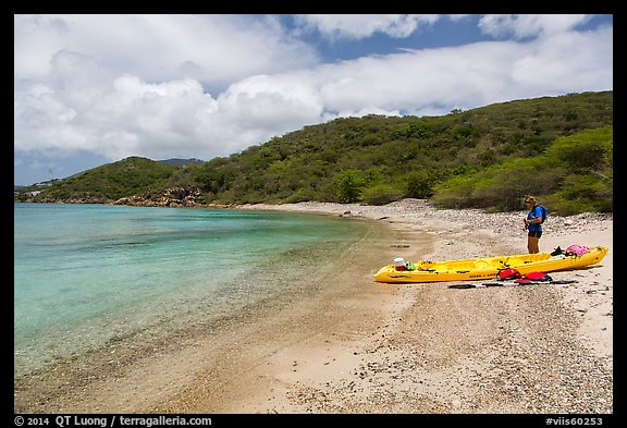 Kayaker on beach, Hassel Island. Virgin Islands National Park (color)