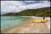Kayaker on beach, Hassel Island. Virgin Islands National Park ( color)