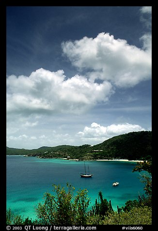 Yachts anchored in Hurricane Hole Bay. Virgin Islands National Park (color)