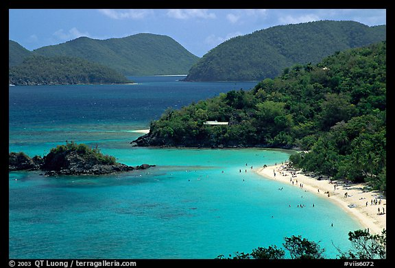Trunk Bay and beach, mid-day. Virgin Islands National Park (color)