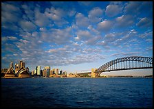 Opera House, skyline, and Harbor Bridge,. Sydney, New South Wales, Australia