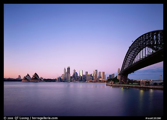 Harbor Bridge, skyline, and Opera House, dawn. Australia (color)