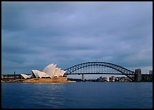 Opera House and Harbor Bridge. Sydney, New South Wales, Australia (color)