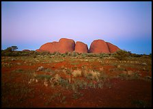Olgas at dusk. Olgas, Uluru-Kata Tjuta National Park, Northern Territories, Australia (color)