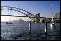 View across Harboor and Harboor bridge, morning. Sydney, New South Wales, Australia (color)