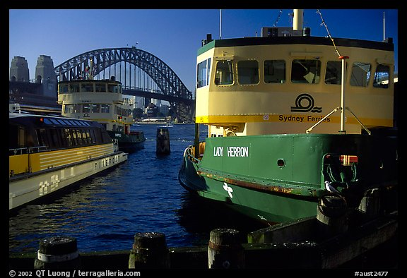 Ferries with Harbor bridge in the background. Sydney, New South Wales, Australia (color)