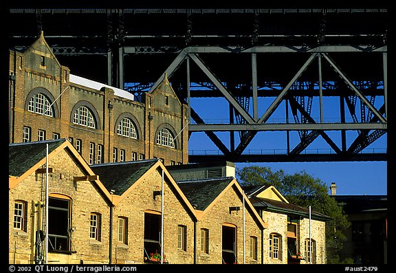Colonial-era buildings of the Rocks and Harboor bridge. Sydney, New South Wales, Australia (color)