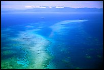 Aerial view of an island  near Cairns. The Great Barrier Reef, Queensland, Australia (color)