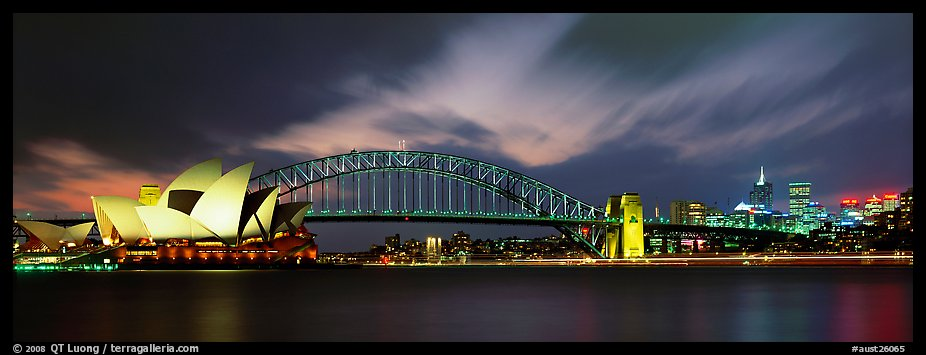 Sydney night view of opera house and Harbor Bridge. Sydney, New South Wales, Australia (color)