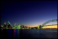 Skyline and Harbour bridge at night. Sydney, New South Wales, Australia