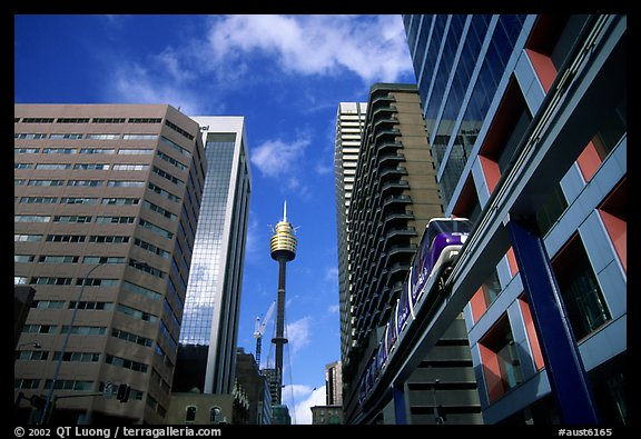 Monorail train ramp in downtown. Sydney, New South Wales, Australia (color)