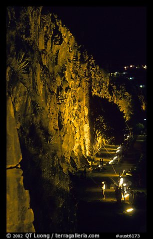 Rock climbing on the banks of the Brisbane River at night. Brisbane, Queensland, Australia (color)