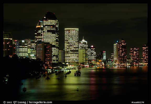 Brisbane reflected in the river at night. Brisbane, Queensland, Australia (color)