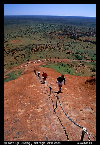 Ascending Ayers Rock. Uluru-Kata Tjuta National Park, Northern Territories, Australia (color)