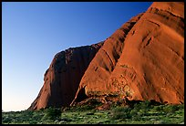 The steep walls of Ayers Rock. Uluru-Kata Tjuta National Park, Northern Territories, Australia (color)