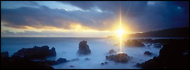 Seascape with mystic sun and rays. Maui, Hawaii, USA (Panoramic color)